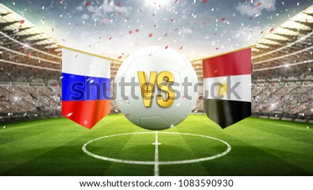 Fifa Cup. Russia vs Egypt. Soccer concept. White soccer ball with the flag in the stadium, 2018. 3d render
