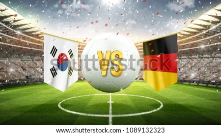 Fifa Cup. South Korea vs Germany. Soccer concept. White soccer ball with the flag in the stadium, 2018. 3d render