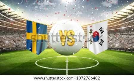 Fifa Cup. Sweden vs South Korea. Soccer concept. White soccer ball with the flag in the stadium, 2018. 3d render