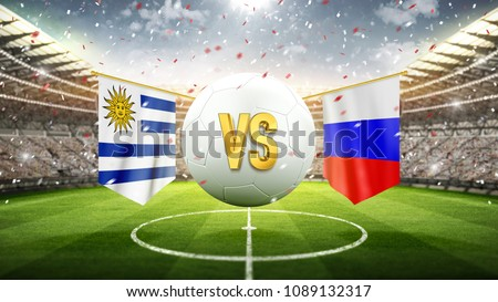Fifa Cup. Uruguay vs Russia. Soccer concept. White soccer ball with the flag in the stadium, 2018. 3d render