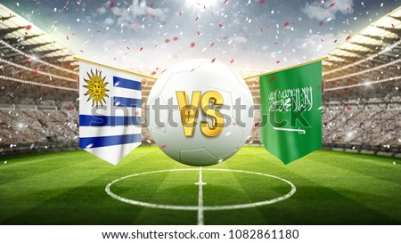 Fifa Cup. Uruguay vs Saudi Arabia. Soccer concept. White soccer ball with the flag in the stadium, 2018. 3d render