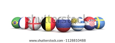 fifa world cup 2018 top 8 team foot ball  concept(uruguay,france, brazil, belgium, russia, caroatia, sweden, england). isolated on White background with the flag ball . 3d render .