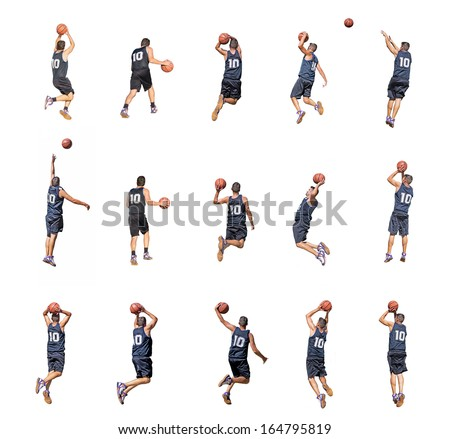 fifteen basketball player silhouettes on white background