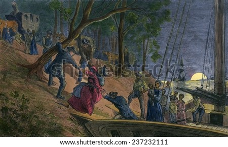 Fifteen fugitive slaves arriving in Philadelphia along the banks of the Schuylkill River in July 1856, Engraving from William Still\'s history UNDERGROUND RAILROAD 1872 with modern watercolor.