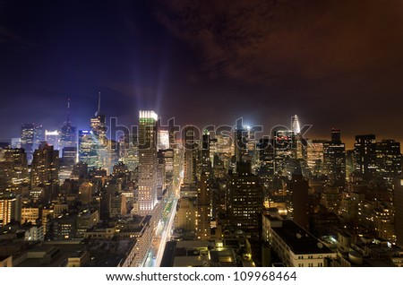 Fifth Avenue and Midtown at night - stock photo