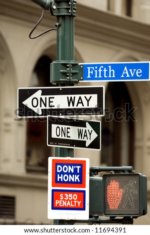 Fifth Avenue sign in pedestrian crossong, midtown Manhattan, NYC - stock photo