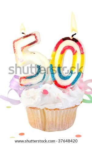 fiftieth birthday cupcake with white frosting on a white  background