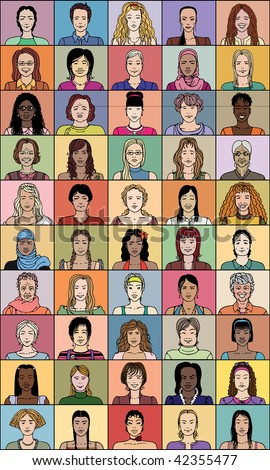 Fifty adult woman of various age and different nationality