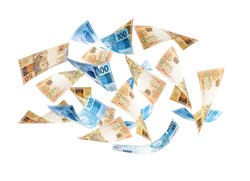 Fifty and one hundred reais bills falling, money from Brazil on isolated white background. One hundred and fifty dollar bills flying, concept of fortune, wealth, grand prize or lottery
