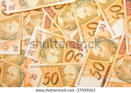 Fifty Brazilian Real Currencies Background .