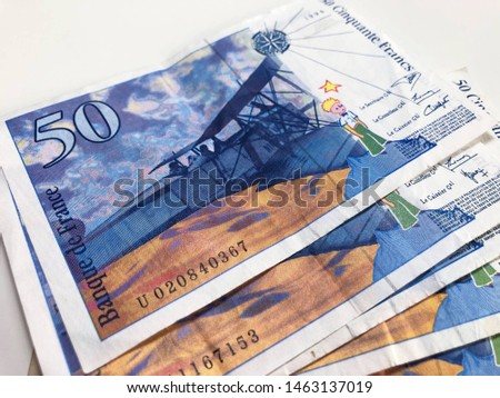 Fifty Cinquante Francs, Fifty French Franc, France banknote on a white background. #1463137019