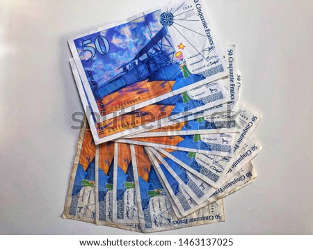 Fifty Cinquante Francs, Fifty French Franc, France banknote on a white background. #1463137025