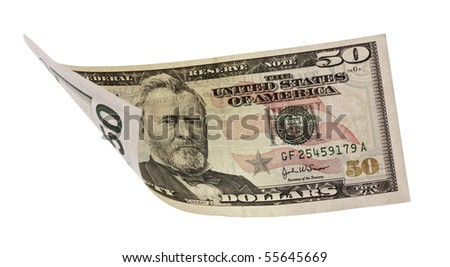 fifty dollar banknote,isolated on white with clipping path.