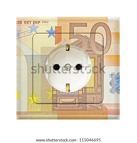 fifty euro banknote combines with a electric socket