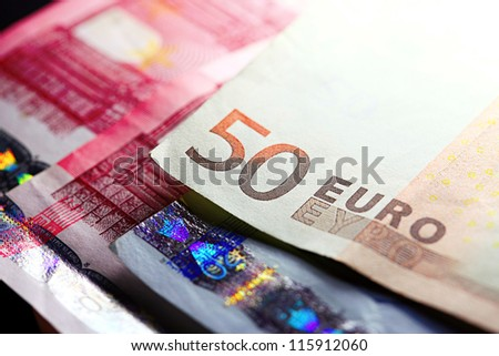 Fifty euro banknote. European finance system. Selective focus.
