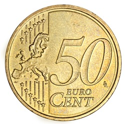 Fifty euro cent on white background