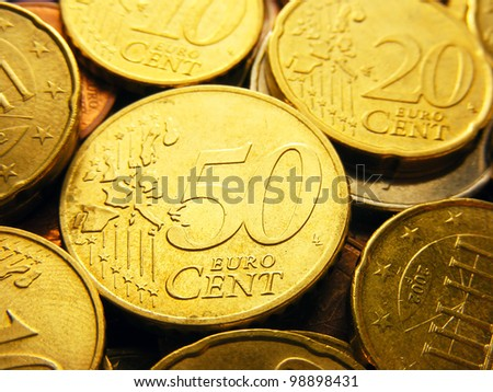 Fifty euro cents. Europe finance system concept.