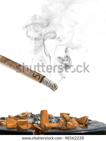 fifty euro cigarette with ashtray and smoke on white background