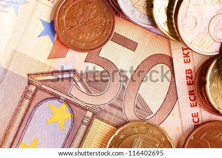 Fifty Euros - Euro Money. Bill and Coins. Financial Photo Collection
