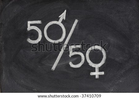 fifty percent - concept of gender equal opportunity or representation in political and public life sketched with white chalk on blackboard