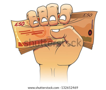 Fifty pounds banknote in people hand for wealth or finance concept. Vector version also available in gallery