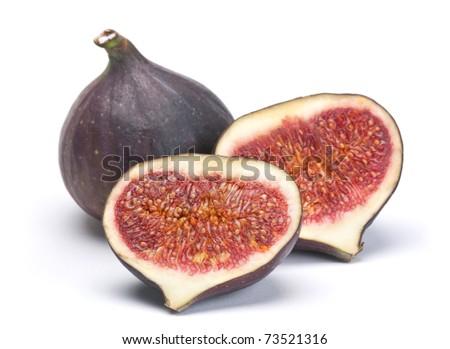 Fig fresh fruit closeup isolated on white background