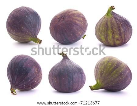 Fig fresh fruit set closeup isolated on white background