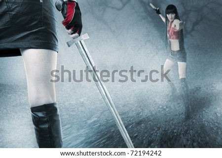 Fight of two young seductive fit woman in mist outdoor