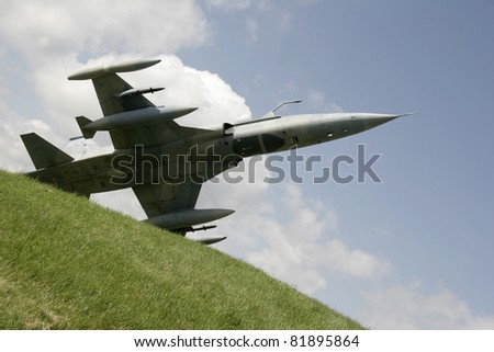 Fighter jet  F-1 just takes off