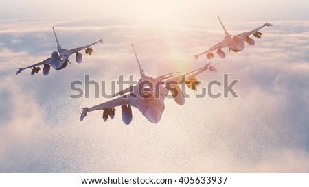 Fighter jets formation 3D rendering