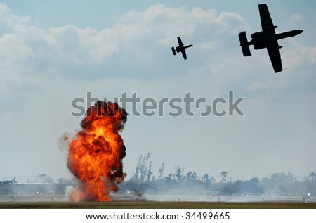 Fighter jets supporting ground attack
