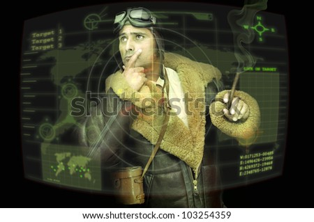 Fighter pilot looking at a radar in a black background