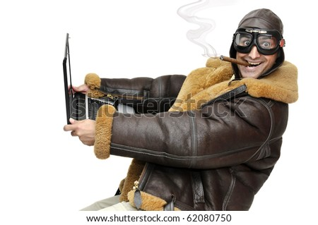 Fighter pilot with laptop isolated in white