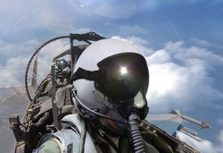Fighter pilots cockpit view on routine flight