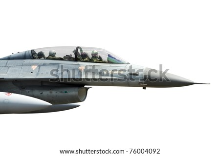 Fighterjet cockpit with two pilots isolated on white