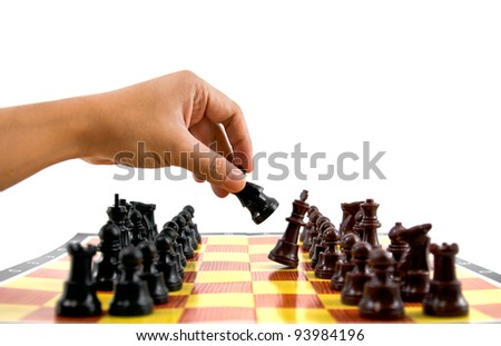 fighting between brown and black army on chess board