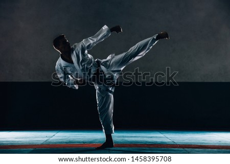 Fighting concept. Fighting man in kimono. Karate man in fighting stance. Keep fighting