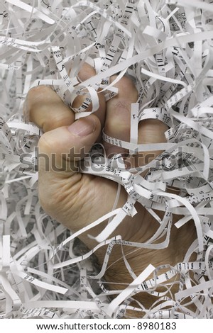 Fighting identity theft by shredding sensitive documents. Also shows frustration of the thief.