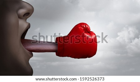 Fighting words and free speech concept  and debating or argument to defend or prosecute as a legal argument symbol or lawyer letigation idea in a 3D illustration style. Photo stock ©