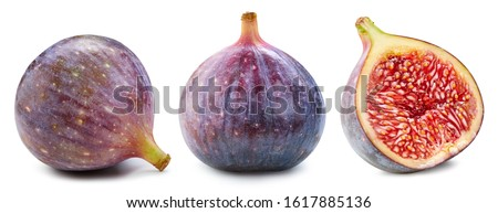 Figs isolated on white. Ripe fresh fig half Clipping Path. Figs collection Stockfoto ©