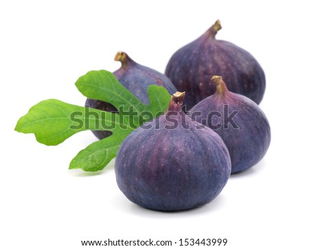 Figs with green leaves.