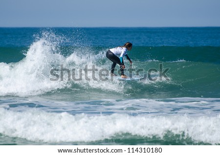 FIGUEIRA DA FOZ, PORTUGAL - SEPTEMBER 30: Unidentified surfer at the 4th stage of MEO Figueira Pro on september 30, 2012 in Figueira da Foz, Portugal.
