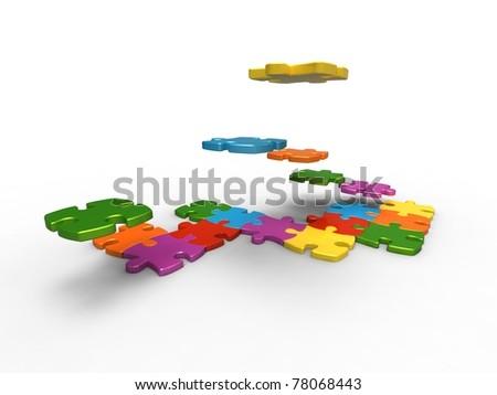 Figure 3d puzzle assembled by a diversity of piece of puzzle