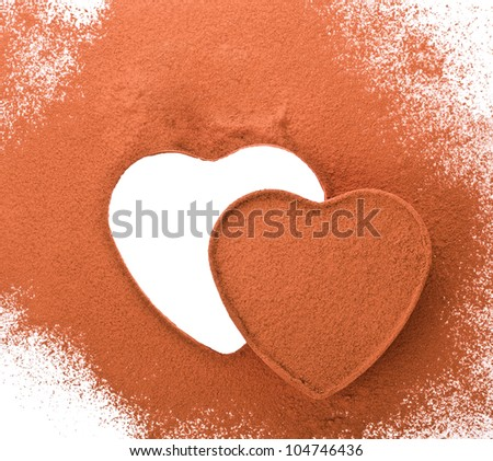 figure drawings in the shape of a heart on the cocoa powder scattered on a white background