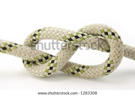 Figure-eight knot tied on a white rope
