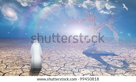 Figure in white robe stands before desert expanse - stock photo