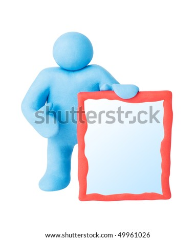 Figure man with blank copy space board. Isolated. Clipping paths