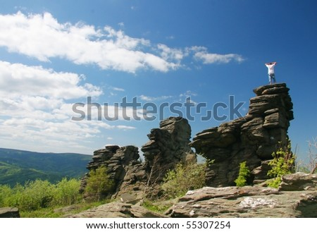 figure of a man on a mountaintop - stock photo