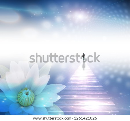Figure of a man on shining road walks towards the light. White lotus. 3D rendering