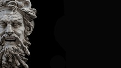 Figure of ancient old scary bearded warrior as gatekeeper isolated at black background, Vienna, Austria, details, closeup